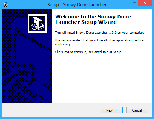 Welcome to setup wizard window