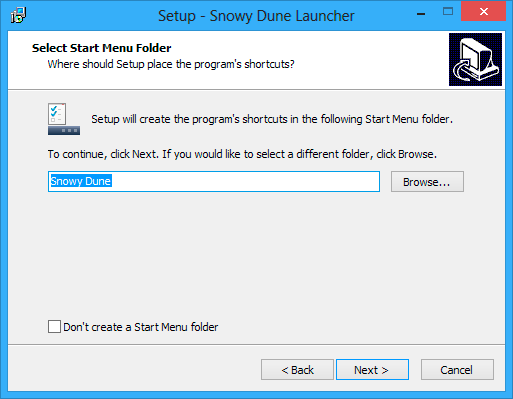 Select start menu folder window