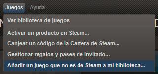 Opción de añadir un juego que no es de Steam a mi biblioteca en el cliente de Steam