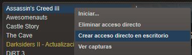 Opción de crear acceso directo en escritorio en el cliente de Steam