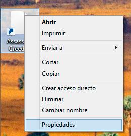 Opción de propiedades del acceso directo