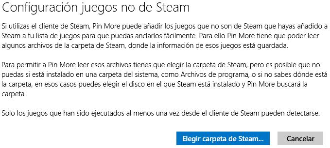 Botón de elegir carpeta de Steam