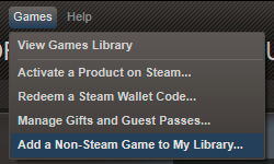 Add a non-Steam game to my library option in Steam client