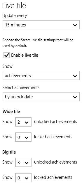 How to change default Steam live tile settings